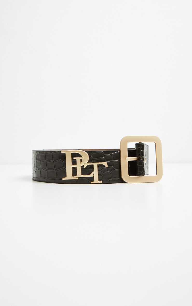 PRETTYLITTLETHING Logo Buckle Black Croc Belt 6