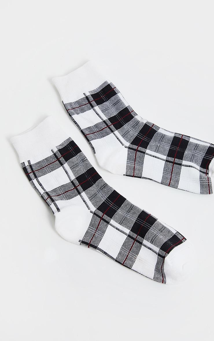 White Check Socks 3