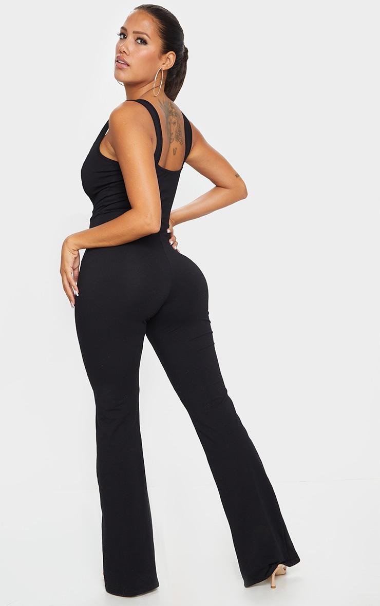 Shape Black Cotton Square Neck Split Front Jumpsuit 2