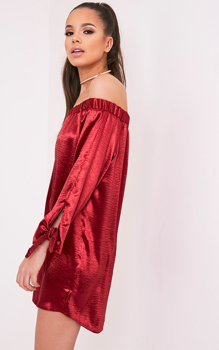 Cay Red Satin Bardot Shift Dress 1