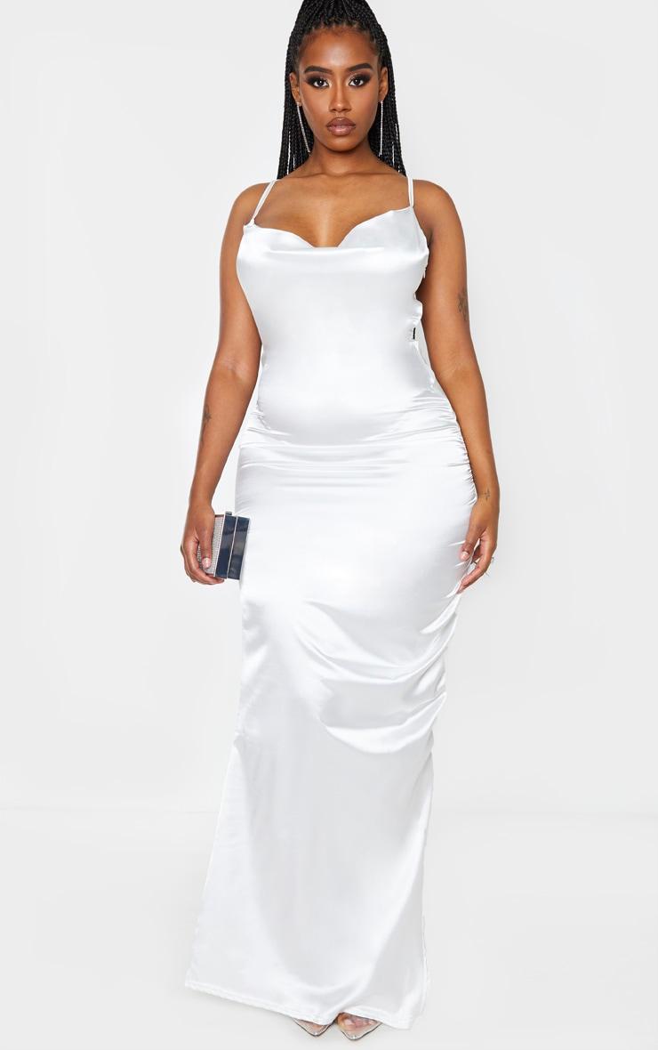 Shape Cream Satin Ruched Side Maxi Dress 1