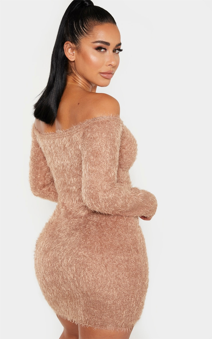 Shape Mocha Eyelash Knit Bodycon Dress 2
