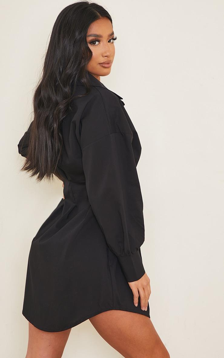 Petite Black Fitted Waist Long Sleeve Shirt Dress