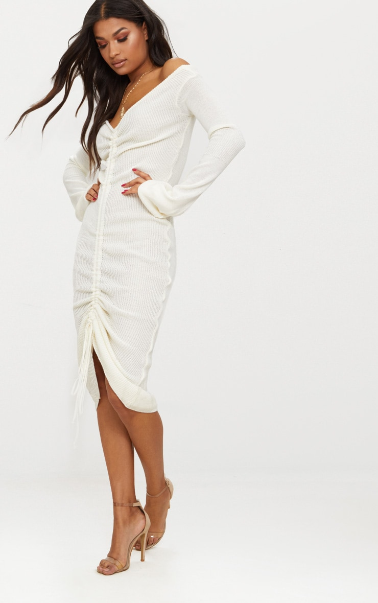 Cream Ruched Knit Extreme Sleeve Midi Dress 4