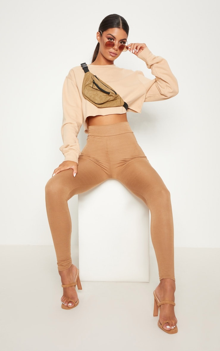 Dabria Camel High Waisted Jersey Leggings