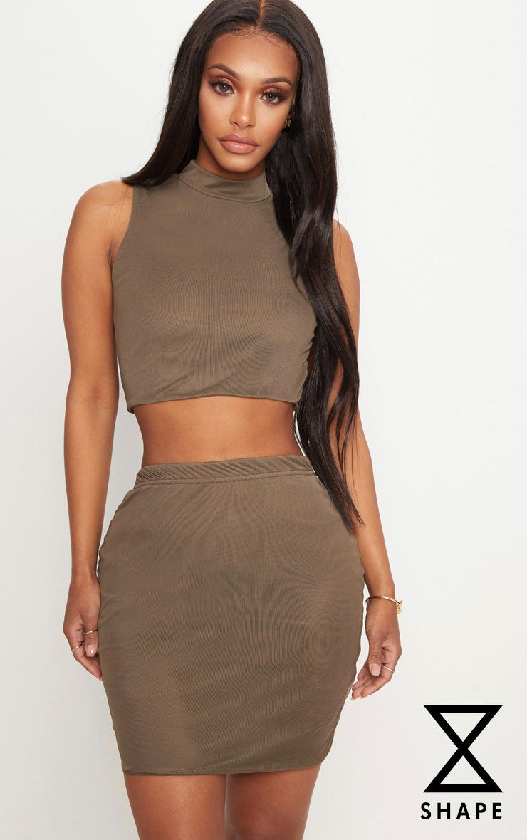 Shape Khaki Mesh Bodycon Skirt 1