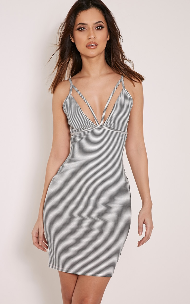 Carolina Striped Double Strap Bodycon Dress 1
