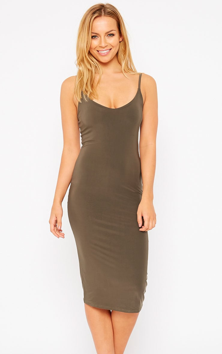 Harpe Khaki Slinky Midi Dress 4