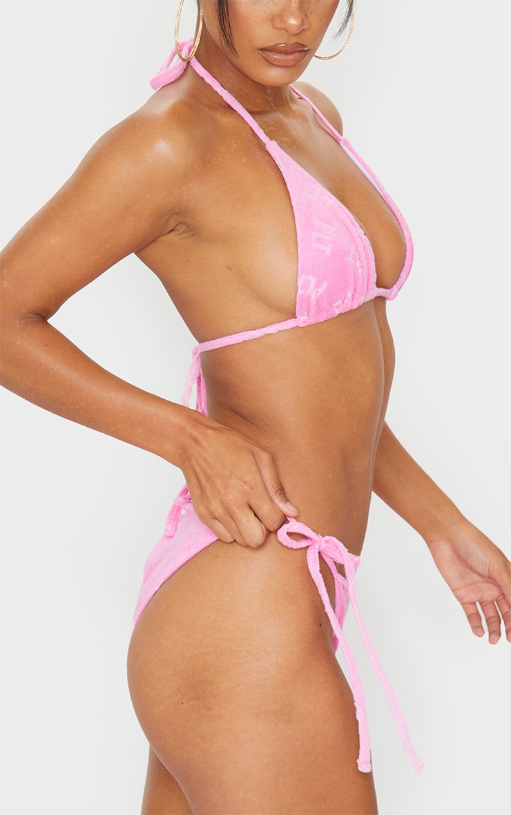 PRETTYLITTLETHING Pink Embossed Towel Bikini Bottoms 2