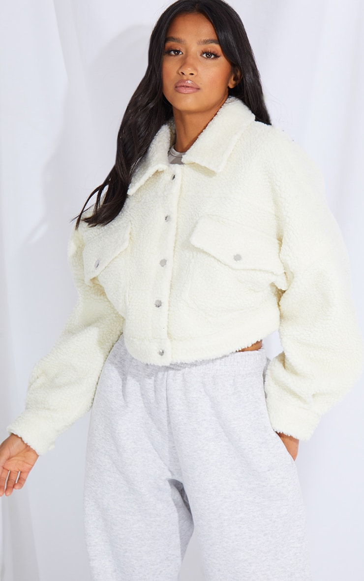 Petite Cream Borg Cropped Trucker Jacket 1
