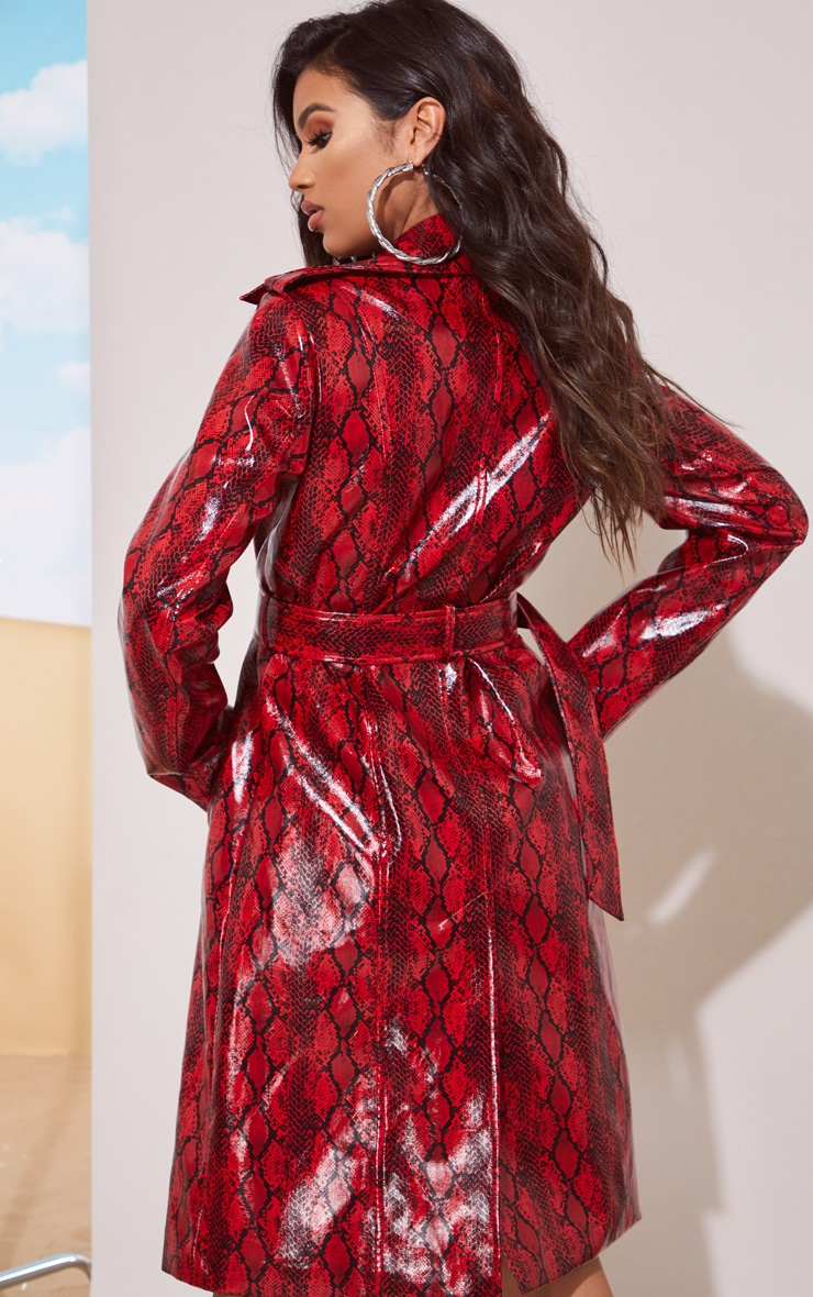 Red Snake Vinyl Trench Coat 3