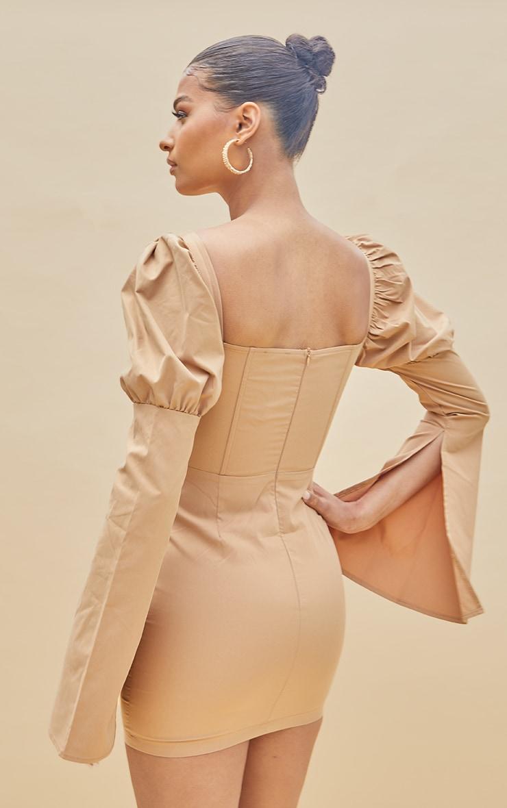 Nude Bell Sleeve Corset Detail Long Sleeve Bodycon Dress 2