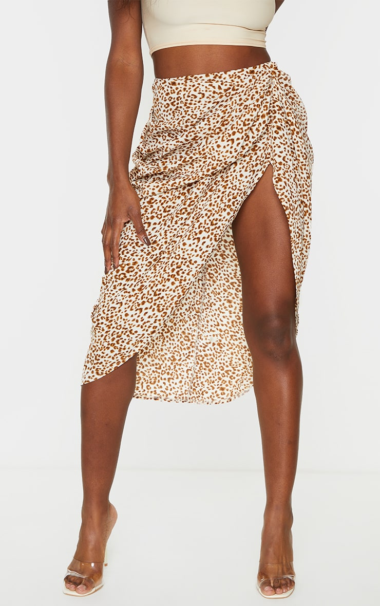 Stone Leopard Print Ruched Side Midi Skirt 2