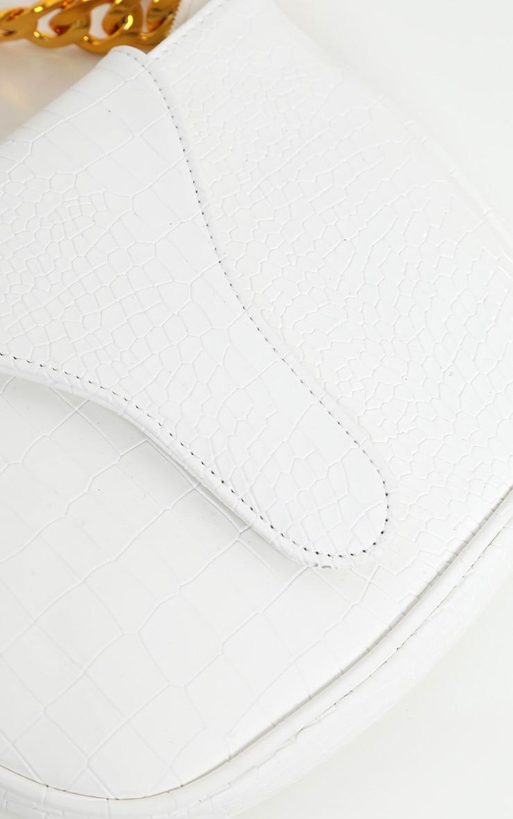White Gold Chain Croc Mini Bag 4
