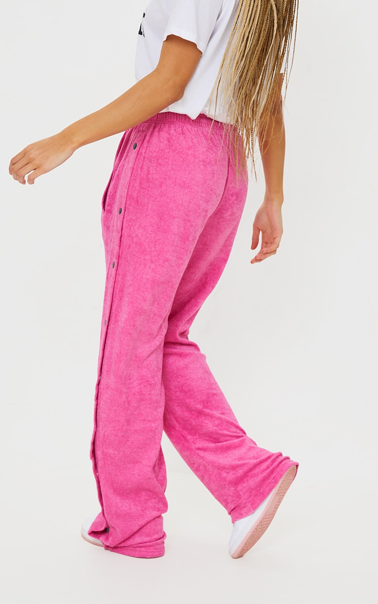 Hot Pink Towelling Popper Side Detail Joggers 3