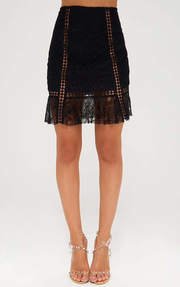 Black Lacey Trim Detail Frill Hem Mini Skirt 2