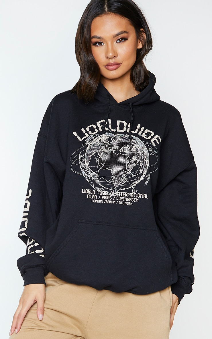 Black Worldwide Oversized Slogan Hoodie 1