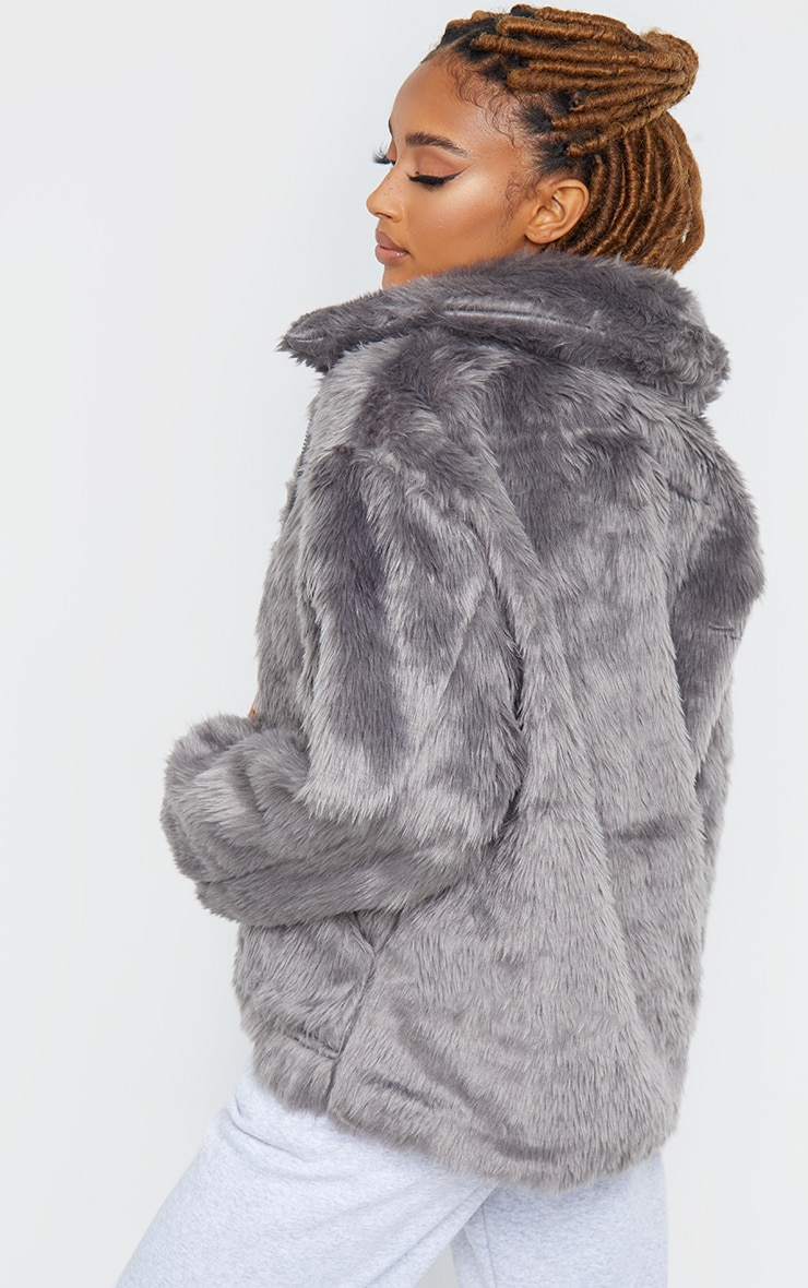 Dark Grey Long Faux Fur Pocket Front Jacket 2