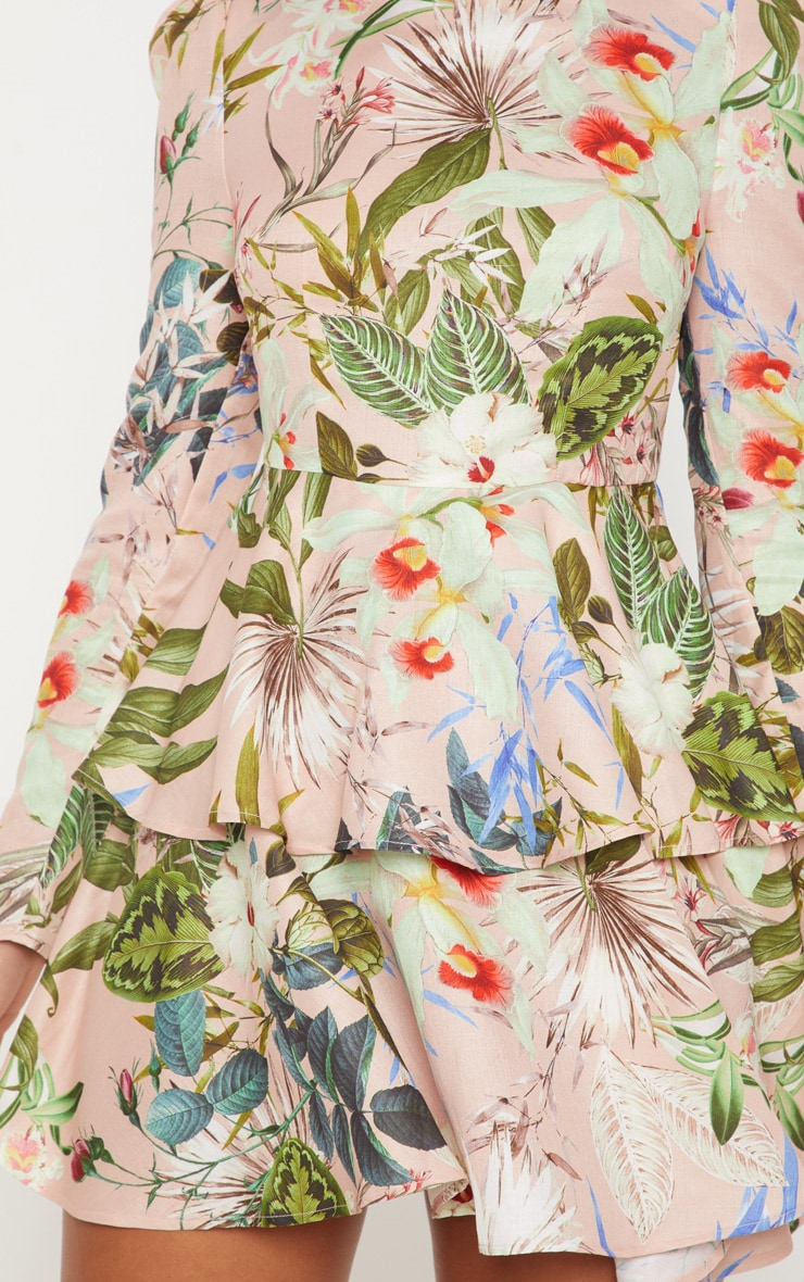 Pale Pink Floral High Neck Tiered Skater Dress 5