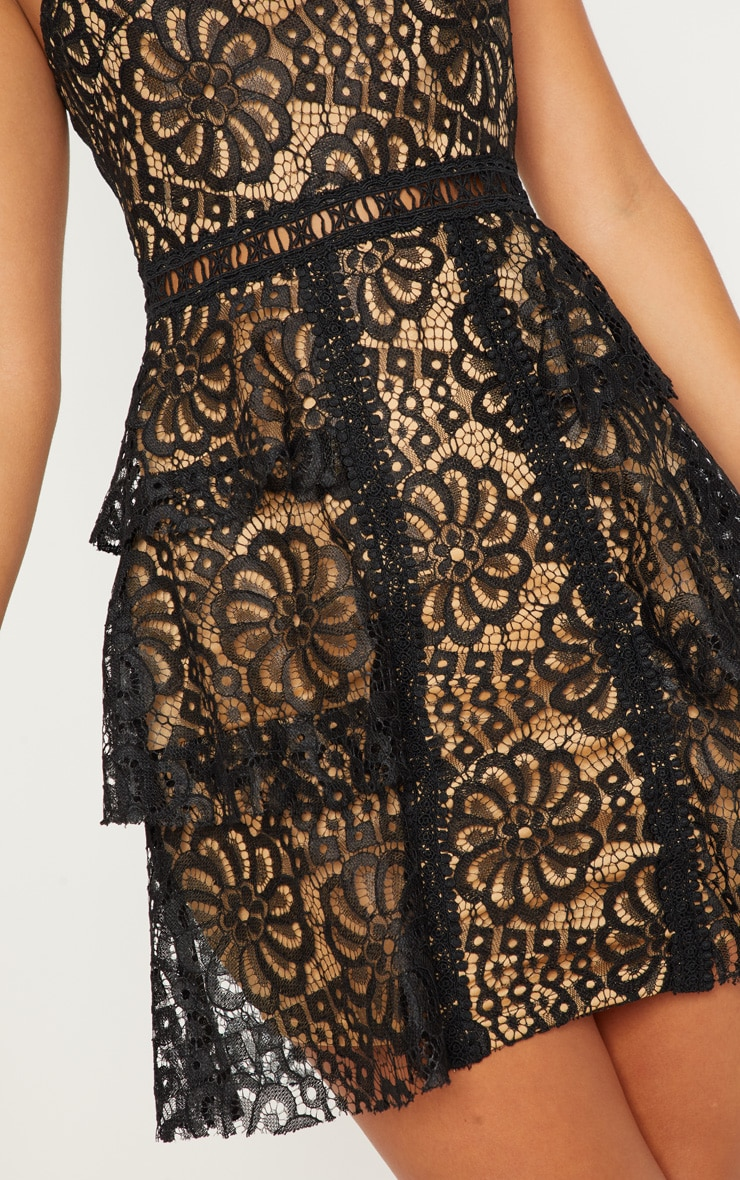 Black Lace Tiered Strappy Skater Dress 5