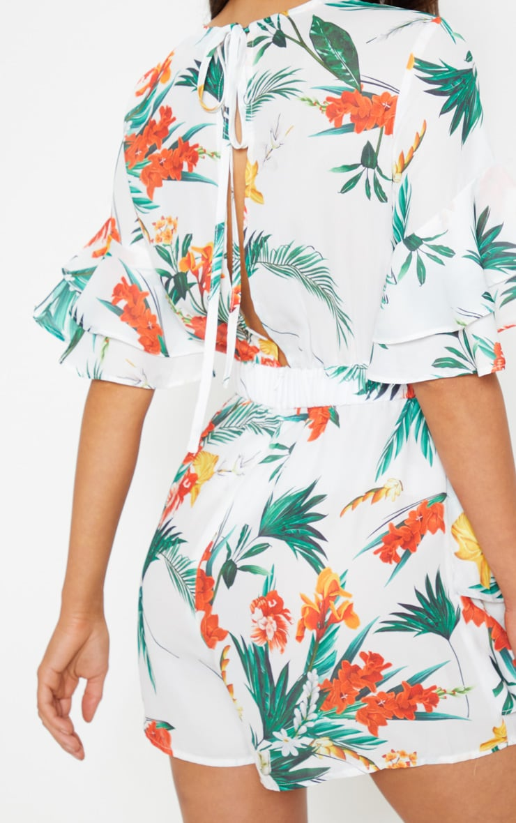 White Tropical Print Frill Sleeve Tie Back Playsuit 5