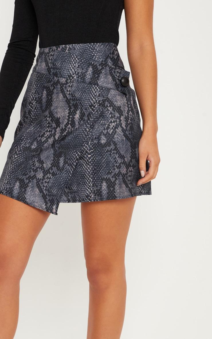 Grey Printed Button Detail Wrap Mini Skirt 6