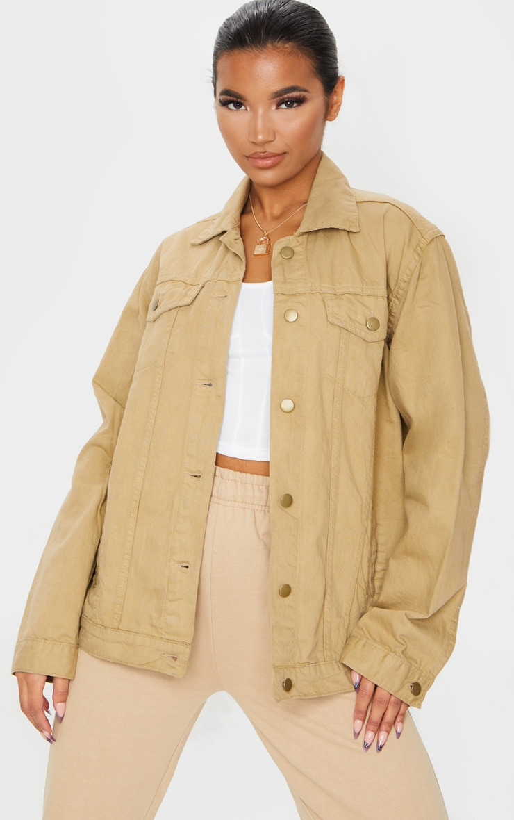 Stone Oversized Boyfriend Denim Jacket 1
