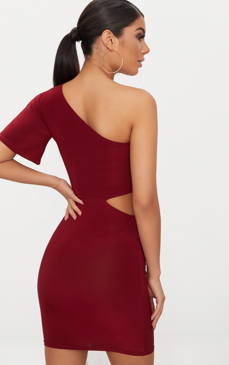 Burgundy One Shoulder Cut Out Side Bodycon Dress 2