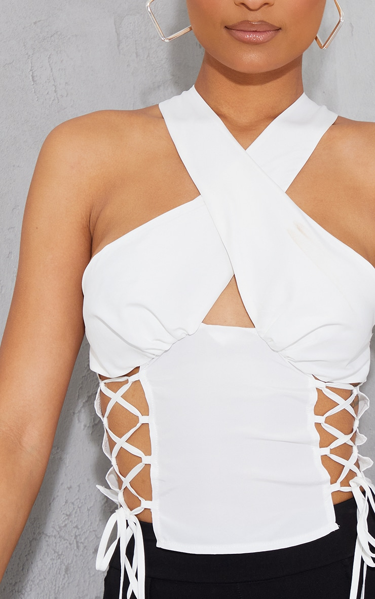 White Woven Sleeveless Lace Up Side Long Top 4
