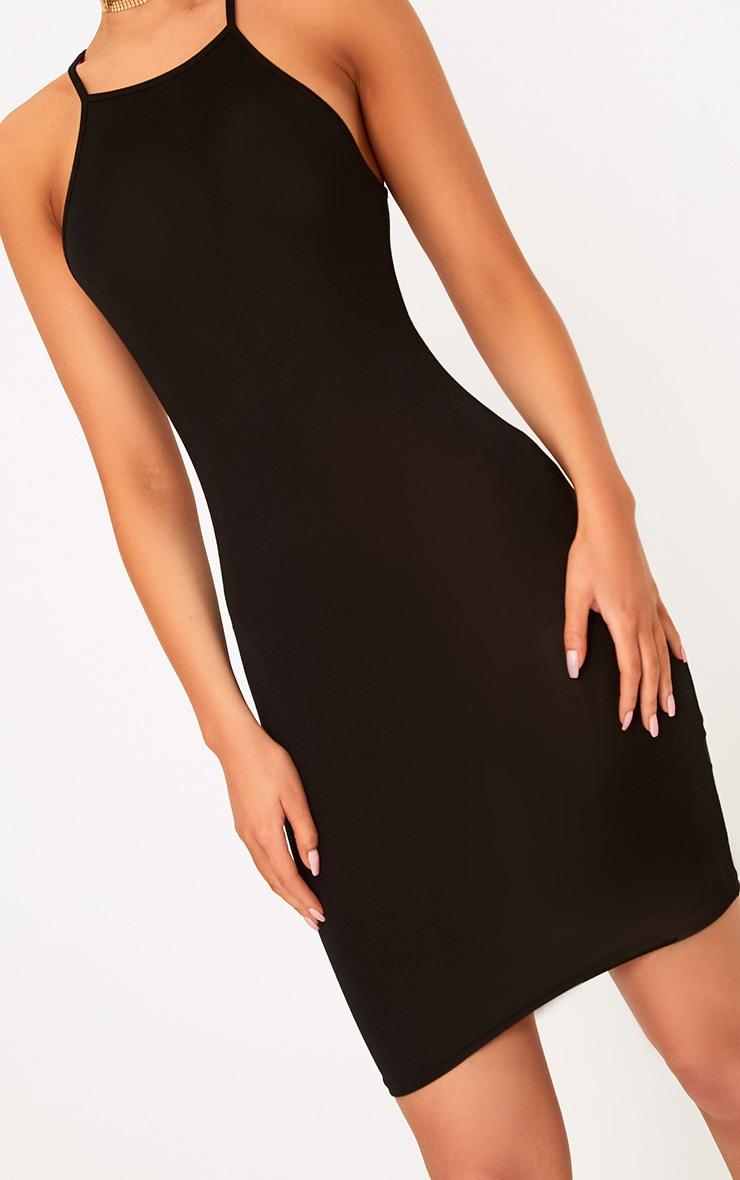 Basic Black Jersey High Neck Bodycon Dress 5