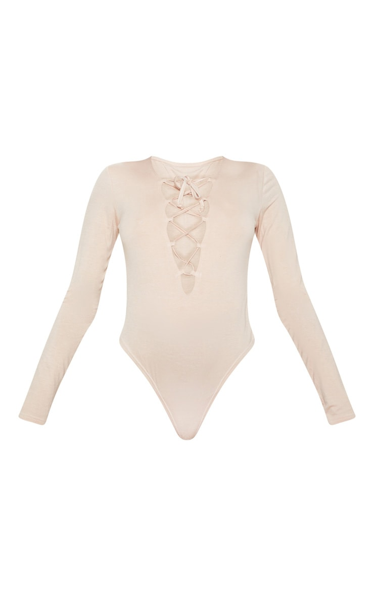 Nude Jersey Lace Up Long Sleeve Bodysuit 3
