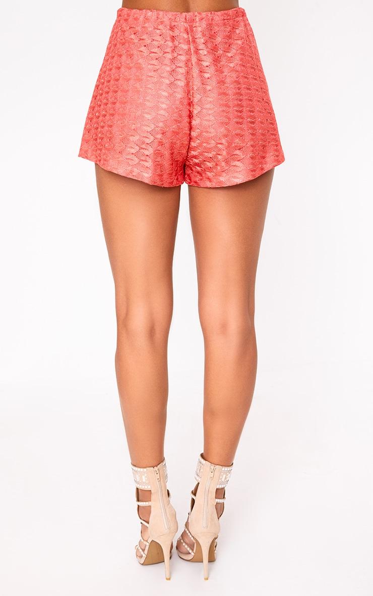 Coral Metallic Crochet Drawstring Shorts 5