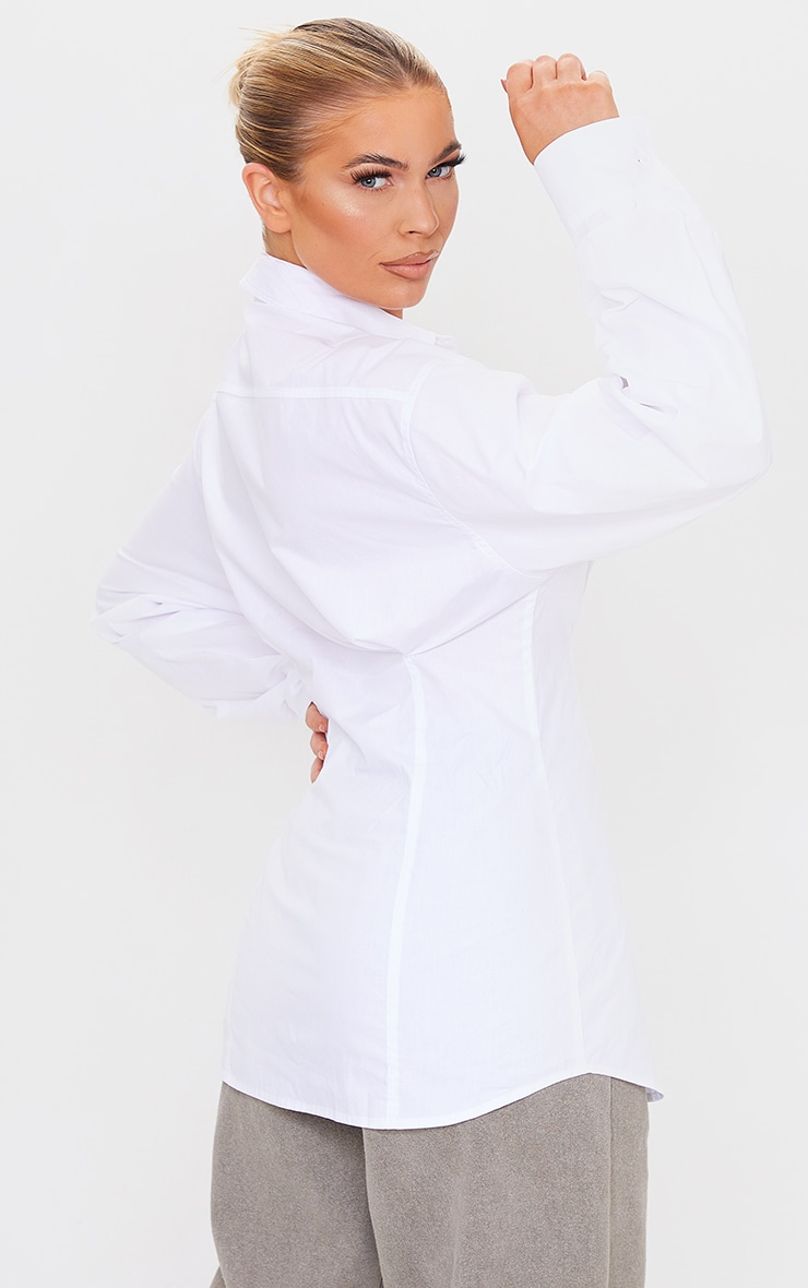 White Poplin Fitted Detail Long Sleeve Shirt 2