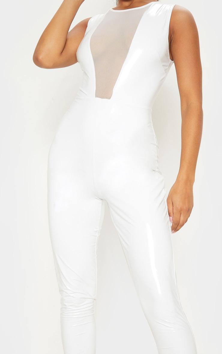 White Vinyl Mesh Panel Sleeveless Jumpsuit 5
