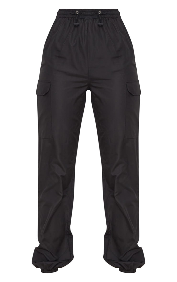 Black Toggle Waist Shell Suit Joggers 3