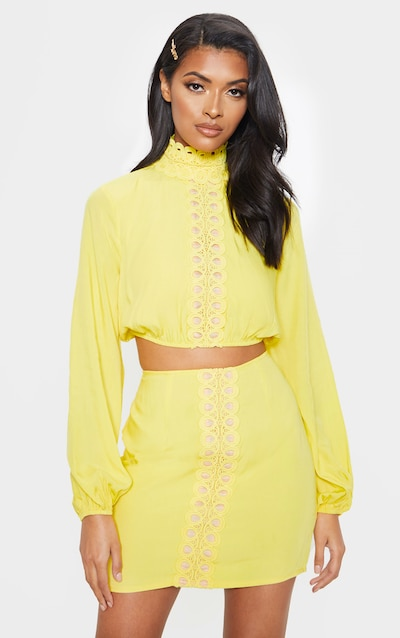 8a9b7c5255 Bright Yellow High Neck Crochet Lace Long Sleeve Crop Blouse