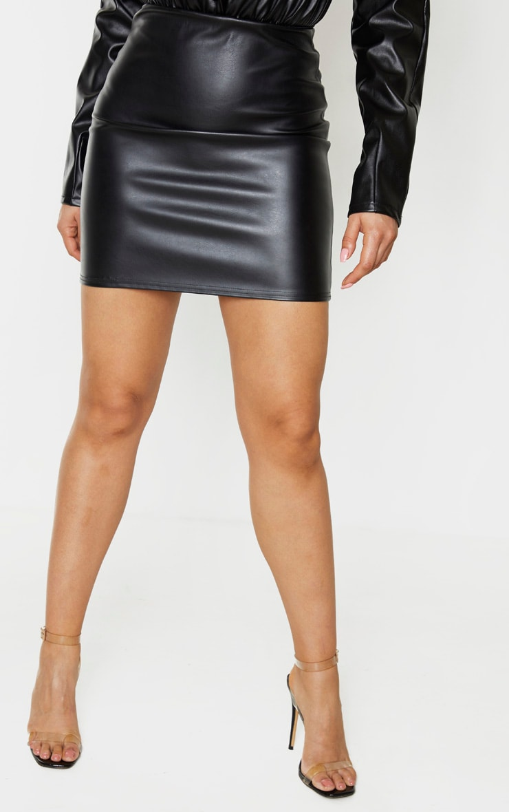 Tall Black PU Mini Skirt 2