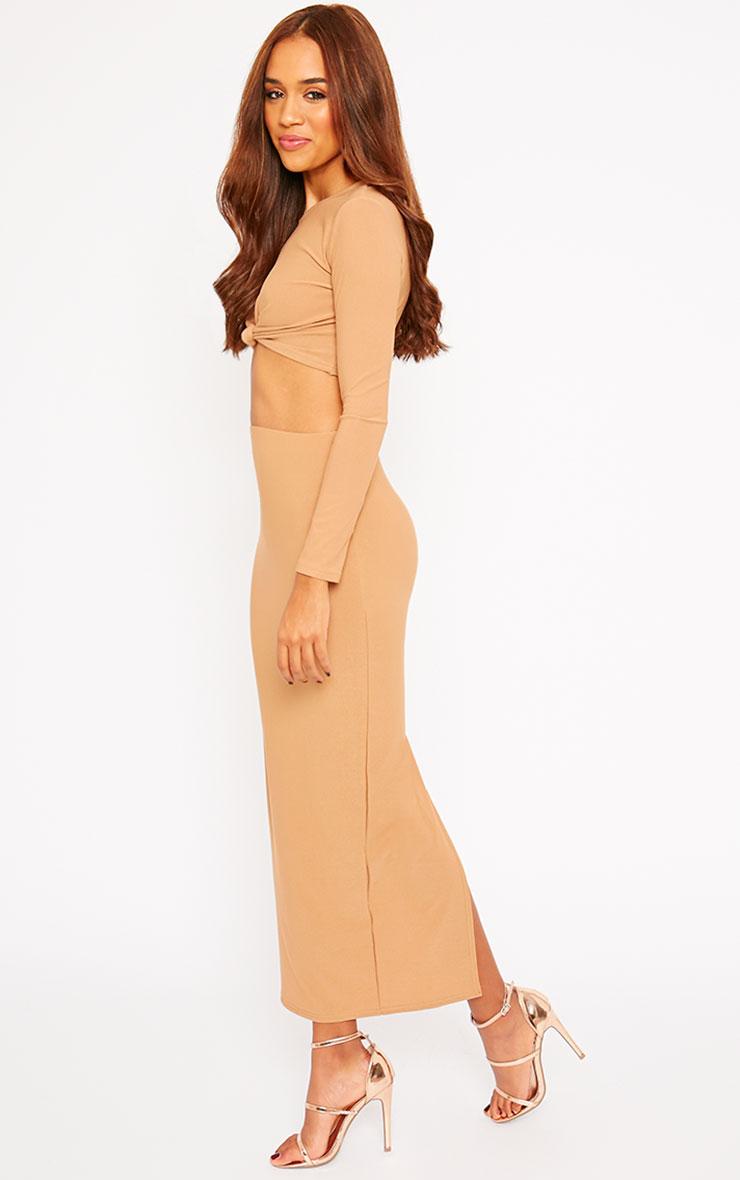 Zafia Camel Crepe Split Maxi Skirt 6