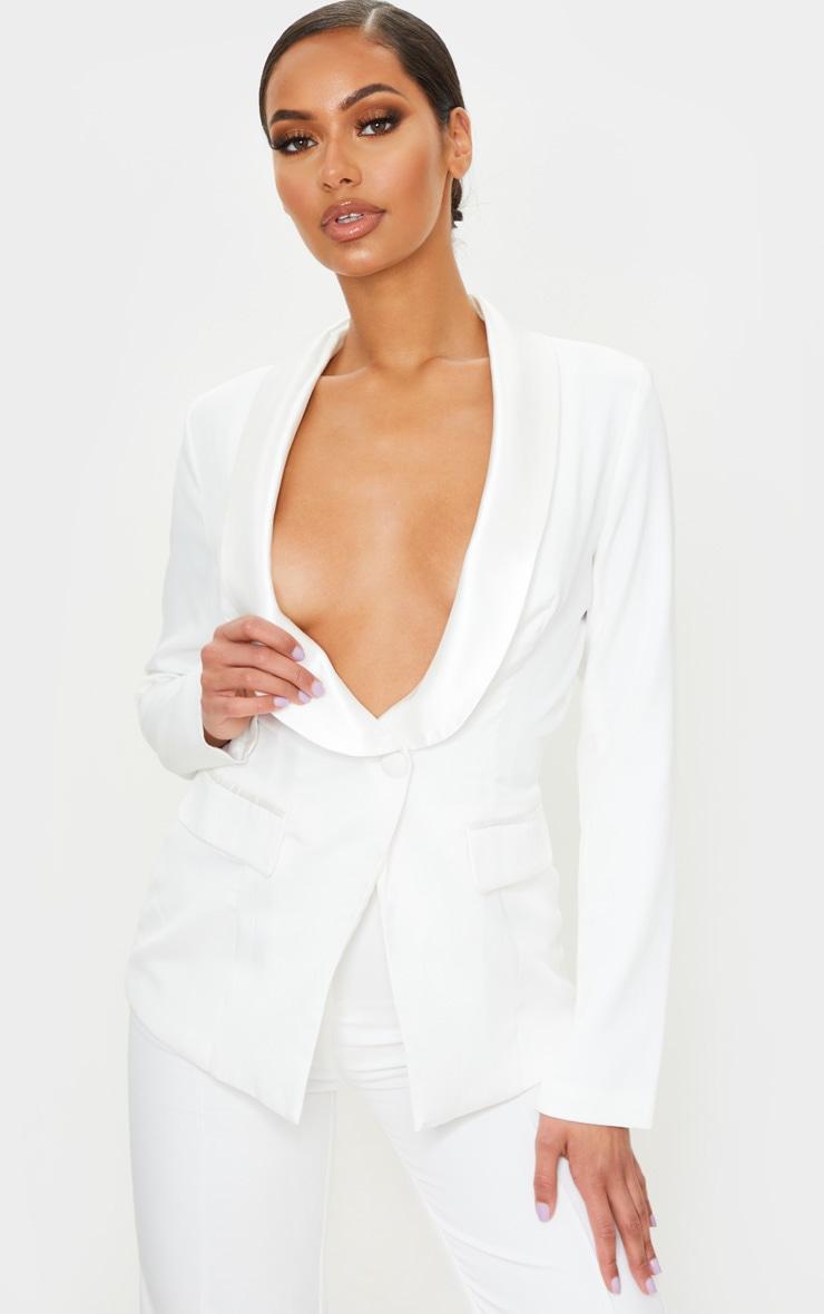 White Backless Satin Contrast Blazer 2