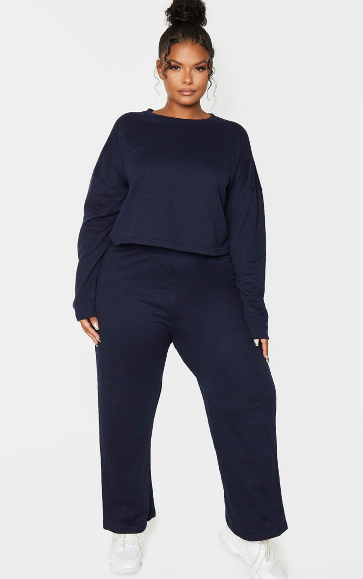 Plus Navy Sweat High Waisted Wide Leg Trouser 1
