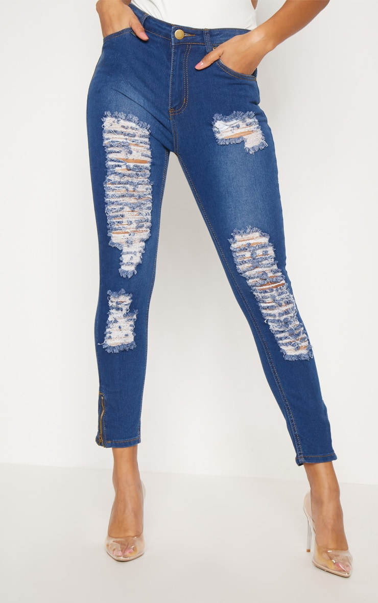 Mid Wash Extreme Distressed Bum Rip Skinny Jean 2