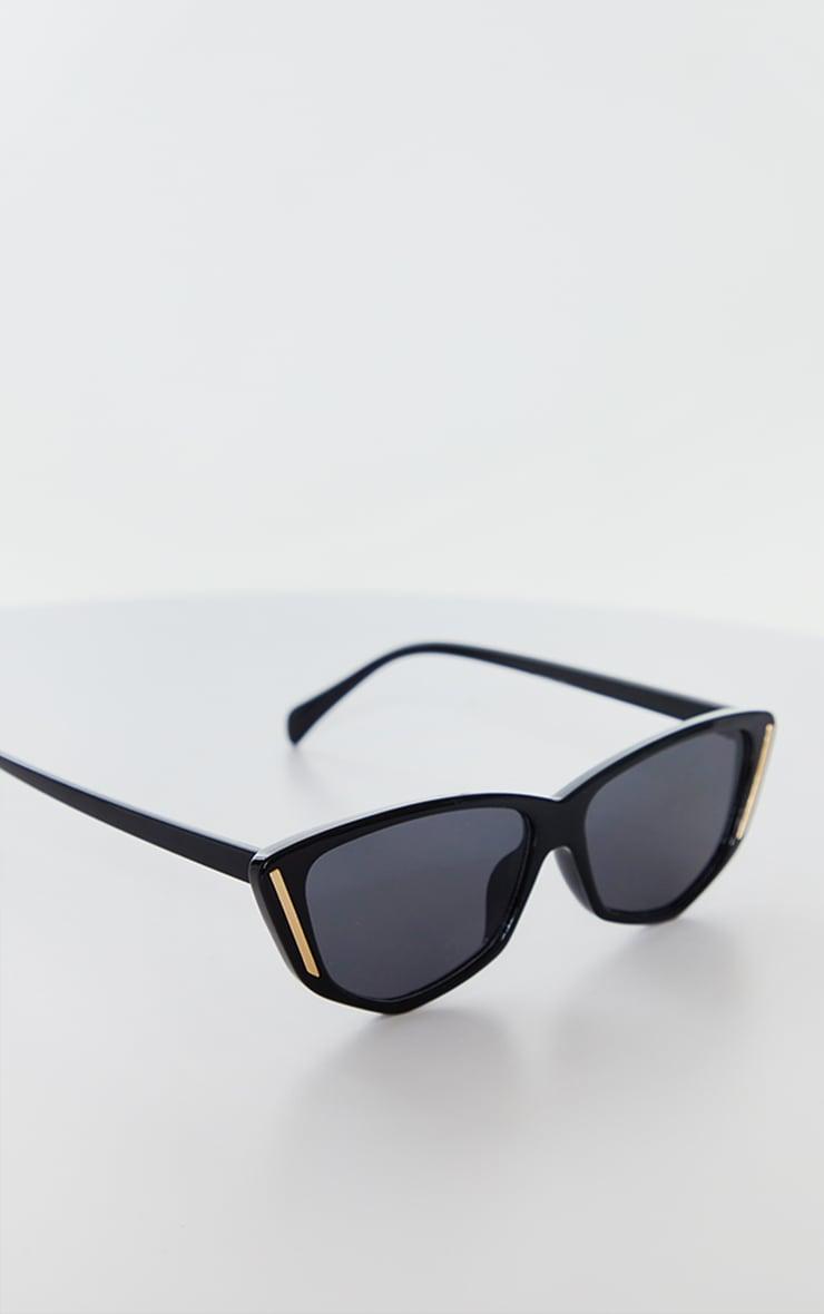 Black Cat Eye With Gold Trim Sunglasses 3