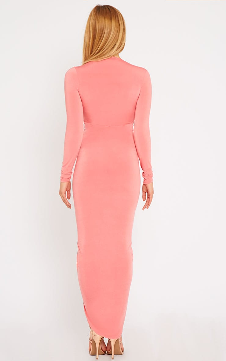 Ellie Coral Slinky Ruched Maxi Dress 2