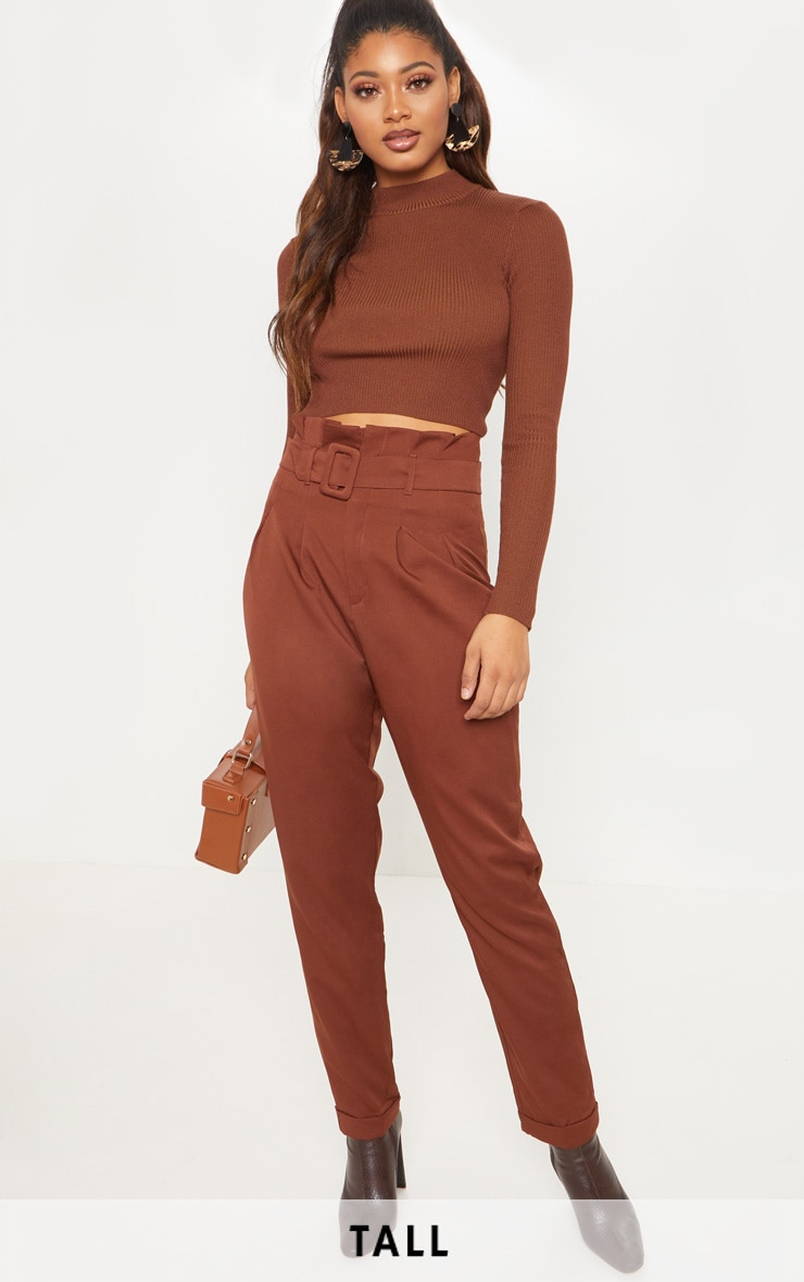 Tall Brown Belt Detail Straight Leg Trouser