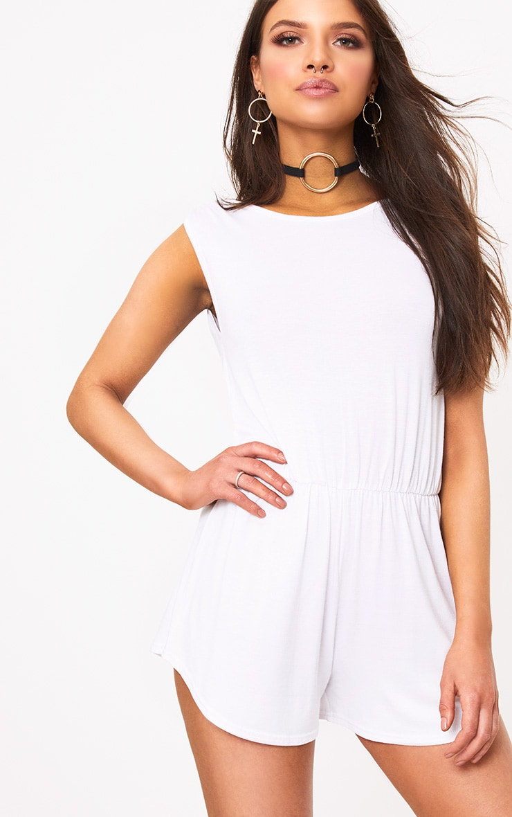 Braylee Basic White Playsuit 1