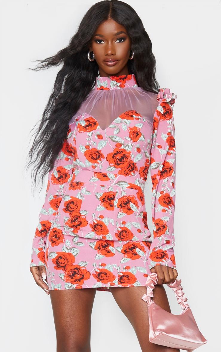 Mauve Rose Floral Print Frill Shoulder Mesh High Neck Bodysuit 1