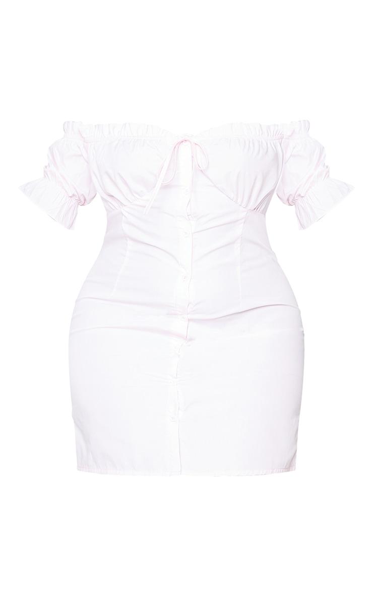 Plus Baby Pink Bardot Button Front Shift Dress 5