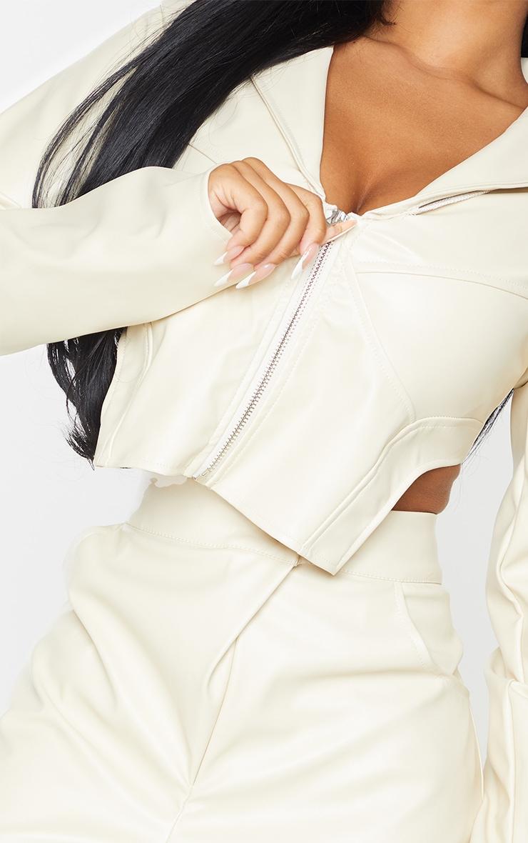 Petite Stone Pu Corset Detail Cropped Blazer 4