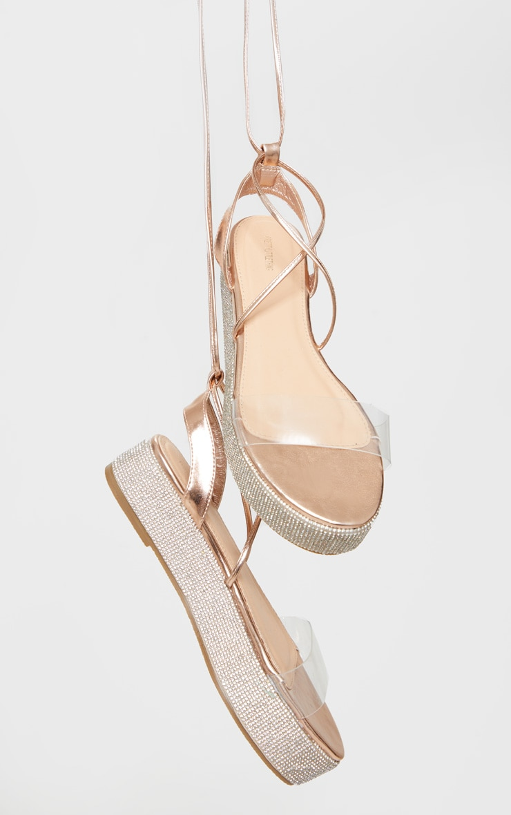 Rose Gold Diamante Sole Flatform Sandals 3