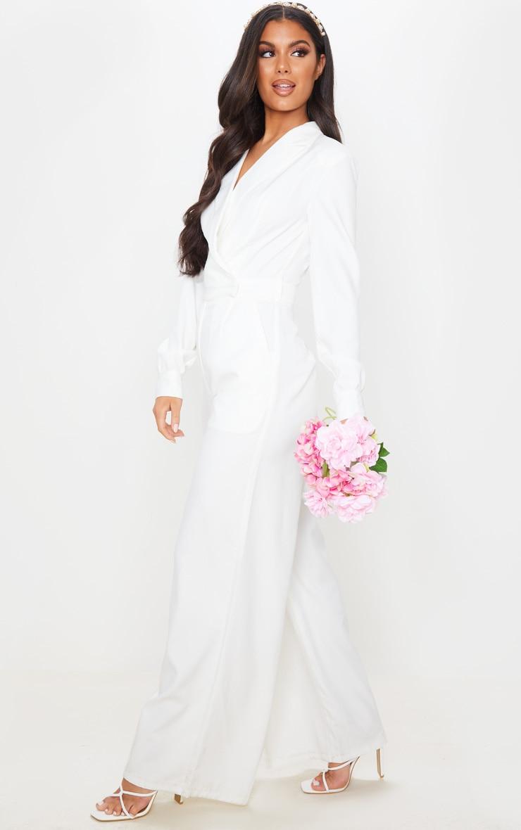 White Tailored Blazer Jumpsuit 3